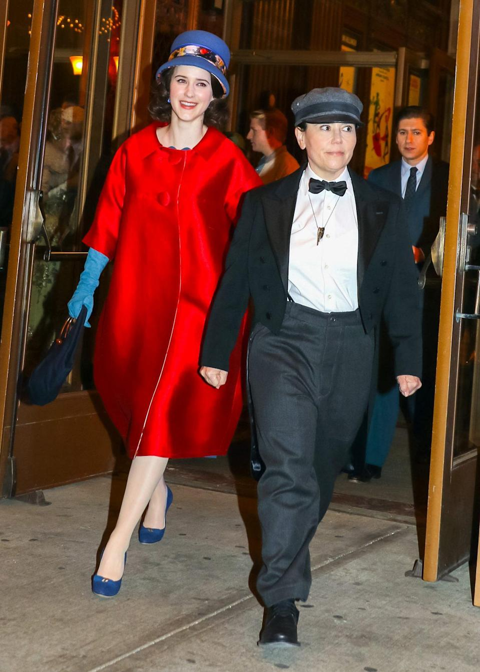 <p>Rachel Brosnahan and Alex Borstein are all dressed up on the New York City set of <em>The Marvelous Mrs. Maisel</em> on Monday night. </p>