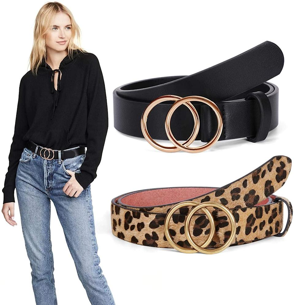 <p>The <span>Double O Ring Leather Belt with Gold Buckle</span> ($10, originally $16) is a stylish belt that's all over social media.</p>