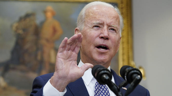 President Biden discusses the situation in Afghanistan at the White House Tuesday. (