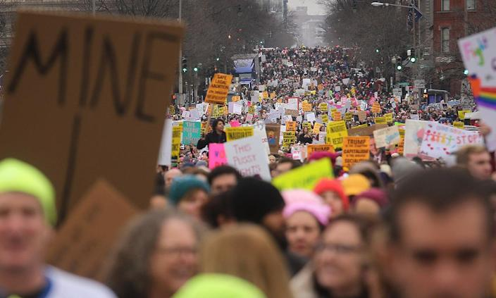 <p>Protesters attend the Women's March on Washington on January 21, 2017 in Washington, DC. (Mario Tama/Getty Images) </p>