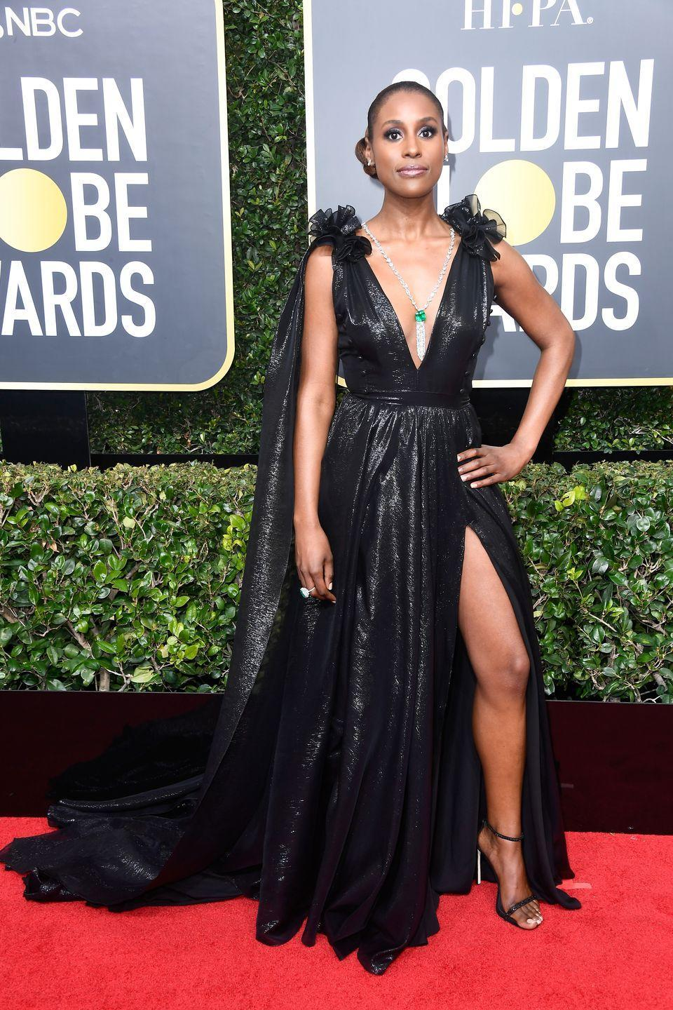 <p>The 2018 ceremony called for all actresses to wear black in solidarity with the #TimesUp movement–but that didn't mean they were boring as the Insecure actress proved in this dramatic Prabal Gurung gown. </p>