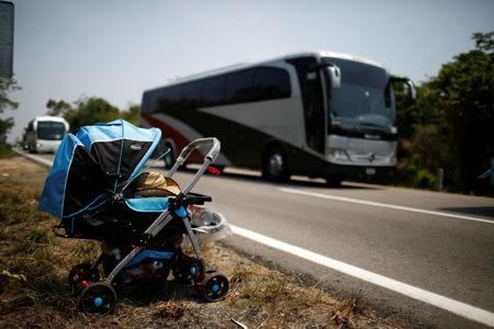 A  stroller abandoned by Central American migrants is seen after a raid in their journey towards the United States, in Pijijiapan, Mexico April 22, 2019. REUTERS/Jose Cabezas