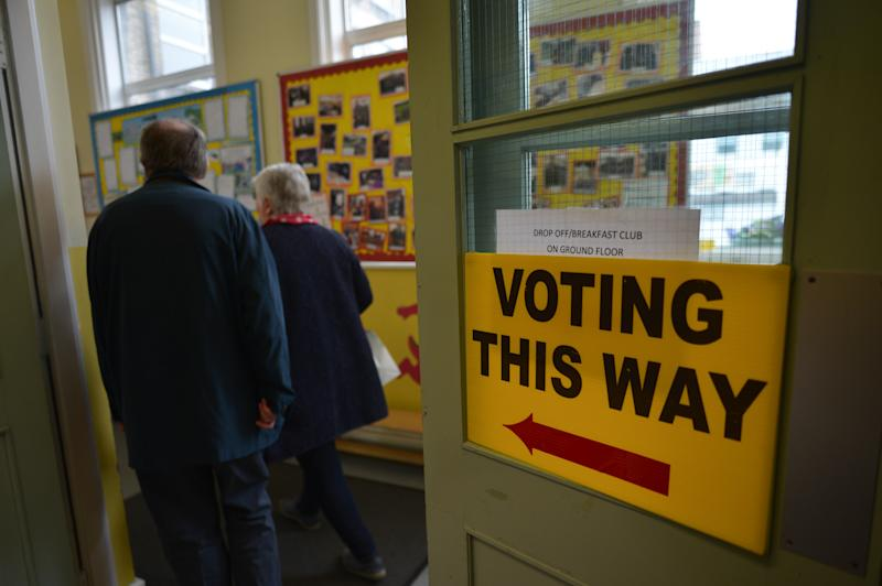 Voters arrive at a Polling Station in Dublin's City Center, to cast their vote in the European Parliament election and also in the local elections and the referendum on Ireland's divorce laws. On Friday, May 24, 2019, in Dublin, Ireland. (Photo by Artur Widak/NurPhoto via Getty Images)
