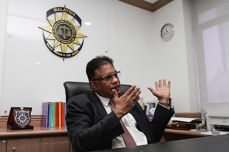 Malaysian Bar president George Varughese during a special interview with Malay Mail at the Bar Council in Kuala Lumpur. — Pictures by Miera Zulyana