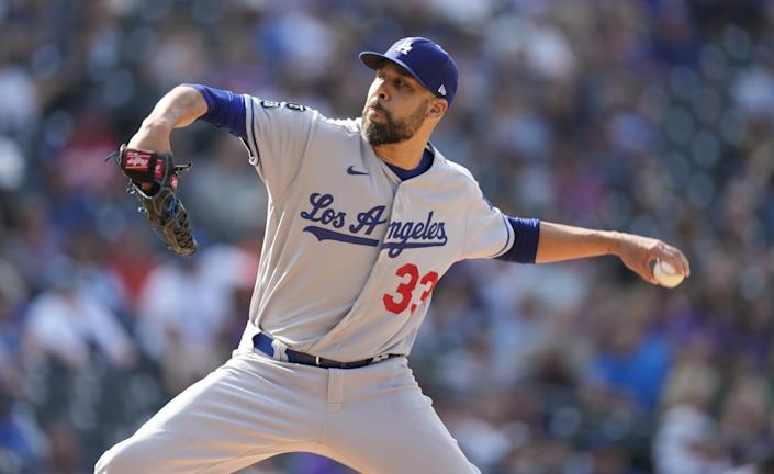 Dodgers pitcher David Price works against the Colorado Rockies.