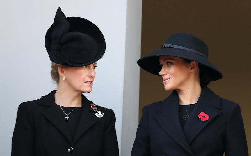 LONDON, ENGLAND - NOVEMBER 10: Sophie, Countess of Wessex and Meghan, Duchess of Sussex attends the annual Remembrance Sunday memorial at The Cenotaph on November 10, 2019 in London, England. (Photo by Chris Jackson/Getty Images)