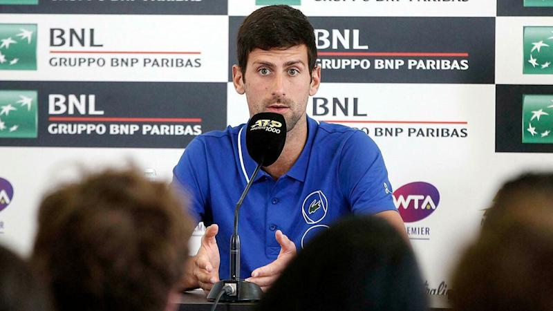 Novak Djokovic became agitated as he discussed ATP politics in Rome. Pic: AAP