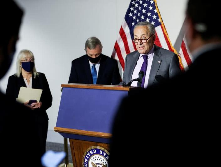 Senate Democrats hold weekly policy lunch on Capitol Hill in Washington