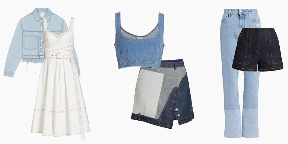 """<p class=""""body-dropcap"""">Every closet comes with the essentials. I'm talking about your classic white T-shirts, a trusty<a href=""""https://www.elle.com/fashion/shopping/g27828/new-classic-white-sneakers-to-buy-now/"""" rel=""""nofollow noopener"""" target=""""_blank"""" data-ylk=""""slk:go-with-everything sneaker"""" class=""""link rapid-noclick-resp""""> go-with-everything sneaker</a>, and a pair of shades that withstand any trend. Yet, no wardrobe feels complete without a good pair of jeans. Since Jacob Davis and Levi Strauss developed denim in 1873, the sturdy twill fabric has been sported from the workplace and beyond, seen on the Hollywood elite of <a href=""""https://www.elle.com/fashion/celebrity-style/news/g8253/denim-style-icons/"""" rel=""""nofollow noopener"""" target=""""_blank"""" data-ylk=""""slk:today (and years past)"""" class=""""link rapid-noclick-resp"""">today (and years past)</a>, royals, and almost every person under the sun. It's the one piece of clothing that can stand the test of time. </p><p class=""""body-text"""">Whether you're a light wash kind of wearer or a hater of skinny jeans, <a href=""""https://www.elle.com/fashion/shopping/a35336034/denim-trends-spring-2021/"""" rel=""""nofollow noopener"""" target=""""_blank"""" data-ylk=""""slk:the power of denim"""" class=""""link rapid-noclick-resp"""">the power of denim</a> is everlasting. Thus making the need of buying a new pair of jeans, jorts, or the pièce de résistance of any closet, the denim jacket, feel all the more necessary, especially when it's on sale. Thankfully, some classic styles (and not-so-classic cuts) from brands like Off-White, Nanushka, and more are on sale at <a href=""""https://go.redirectingat.com?id=74968X1596630&url=https%3A%2F%2Fwww.saksfifthavenue.com%2Fc%2Fsale-2%3Fprefn1%3DisSale%26prefv1%3DSale%26sre%3Dglobalpromo_mod1_1&sref=https%3A%2F%2Fwww.harpersbazaar.com%2Ffashion%2Ftrends%2Fg37113472%2Fdenim-jeans-jacket-sale-saks-fifth-avenue%2F"""" rel=""""nofollow noopener"""" target=""""_blank"""" data-ylk=""""slk:Saks' Fifth Avenue Designer sale"""" class=""""link rapid-noclick-resp"""">"""