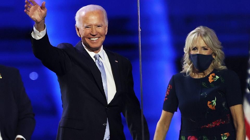 Joe Biden and wife Jill, pictured here after his address to the nation.