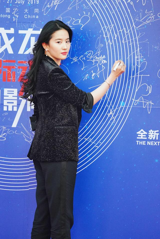 Chinese actress Liu Yifei poses on the red carpet during the closing ceremony for the Jackie Chan International Action Film Week in Datong city, north China's Shanxi province, 27 July 2019. (Photo by Zhou jianzhong - Imaginechina/Sipa USA)