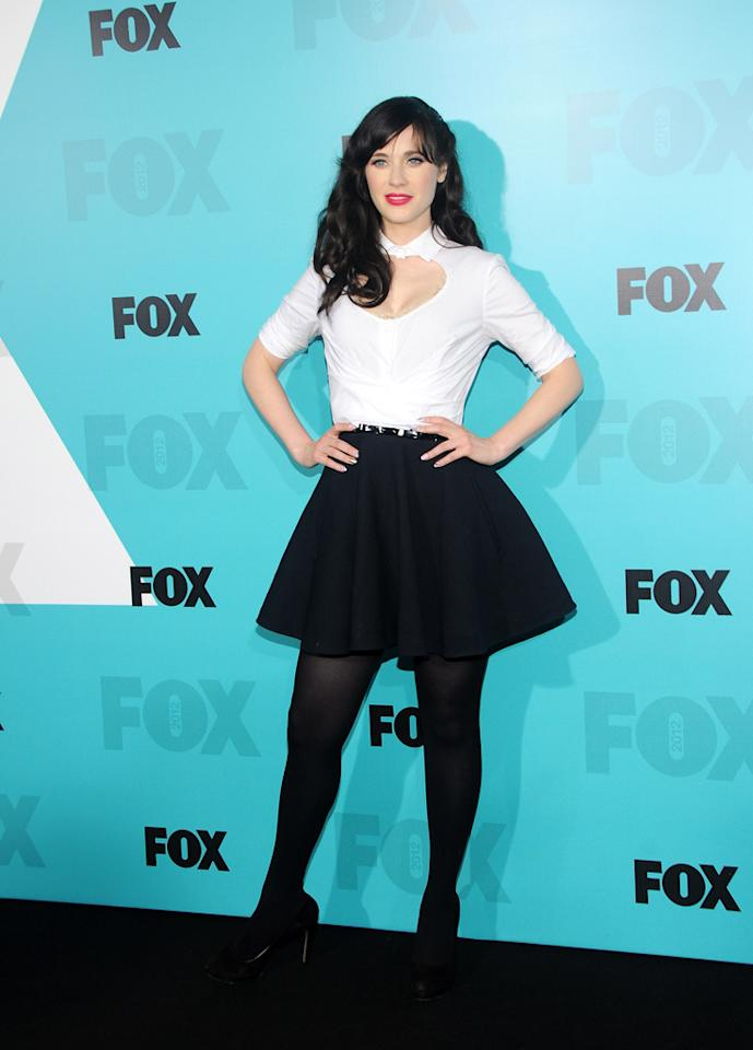 "Zooey Deschanel (""New Girl"") attends the Fox 2012 Upfronts Post-Show Party on May 14, 2012 in New York City."
