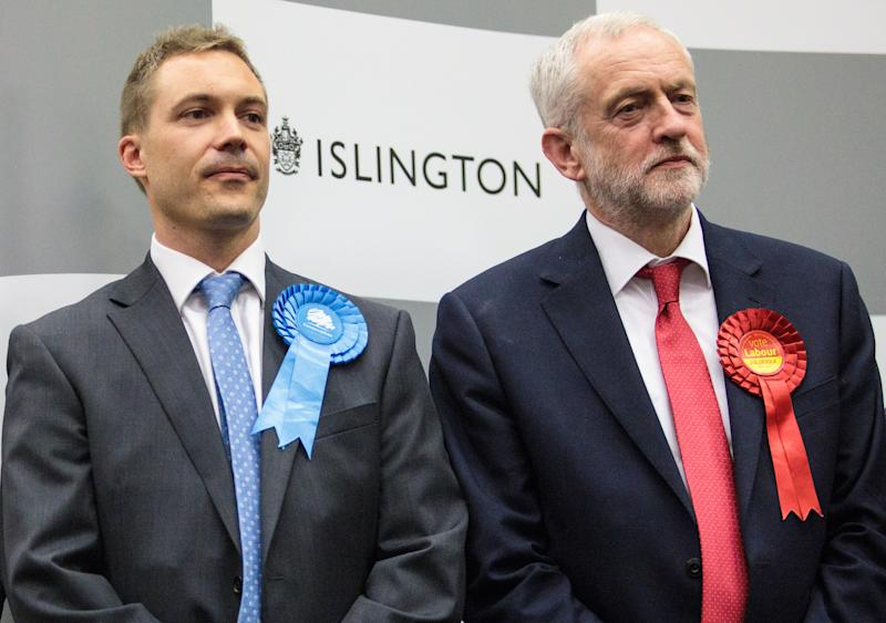 James Clark and Jeremy Corbyn at the 2017 Islington North count (Jack Taylor/Getty Images)