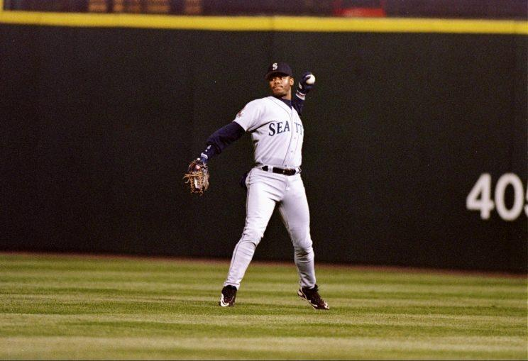 Ken Griffey Jr. in the outfield.