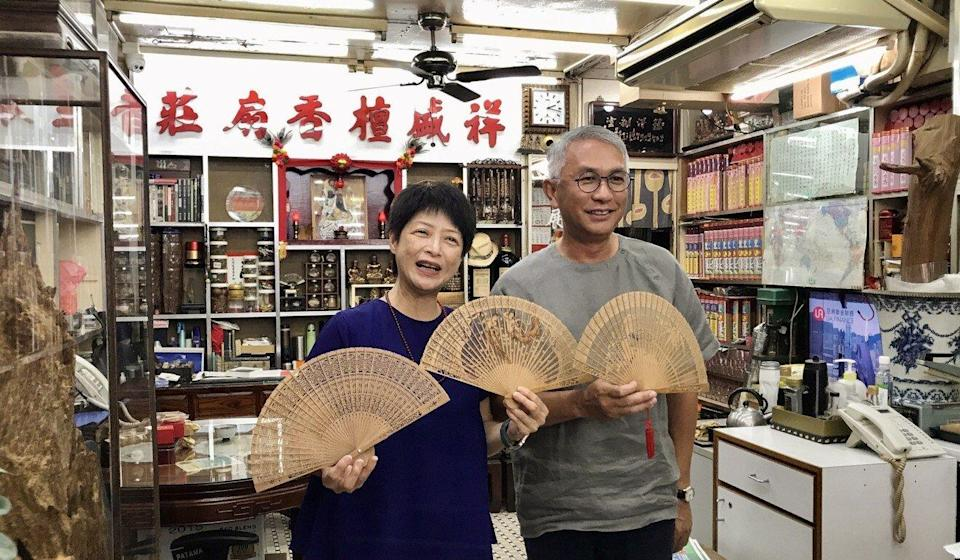 Second-generation owner of Cheung Shing Fans Factory Lowell Lo (right) and his wife. Photo: Sammy Heung