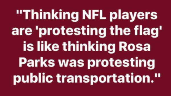 """The hashtag, which was also referenced as #TakeTheKnee, is a response to not only Colin Kaepernick's decision to kneel during the national anthem last season, but also to President Donald Trump who called him ― and those who refuse to stand for the national anthem ― a """"son of a bitch."""""""