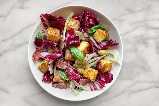 "<h1 class=""title"">Panzanella with polenta cubes - RECIPE</h1> <cite class=""credit"">Photo and Food Styling by Anna Stockwell</cite>"