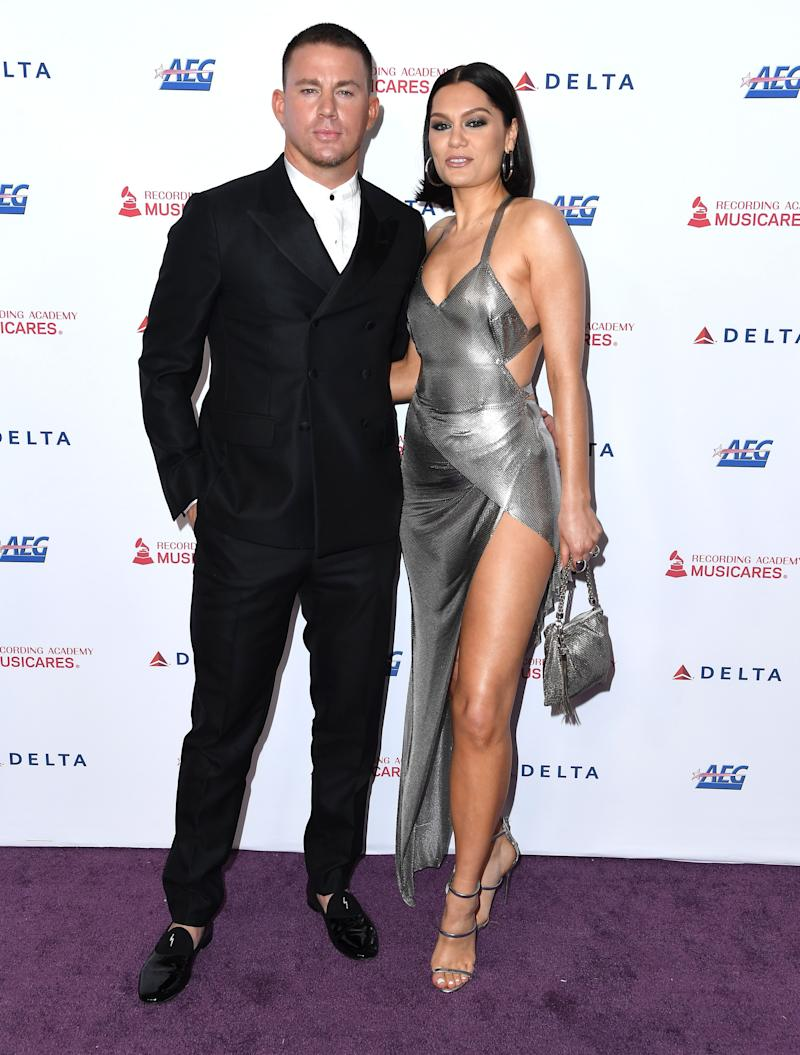 Channing Tatum (left) and Jessie J (right) pose with their arms around each other