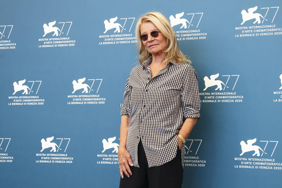 Director Nicole Garcia poses for photographers at the photo call for the film 'Amants (Lovers)' during the 77th edition of the Venice Film Festival in Venice, Italy, Thursday, Sept. 3, 2020. (Photo by Joel C Ryan/Invision/AP)