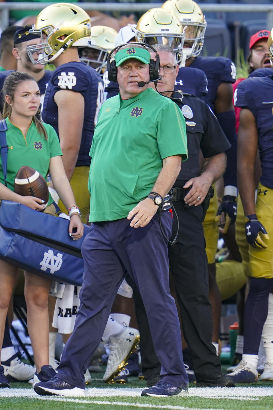 Notre Dame head coach Brian Kelly walks on the sideline during the second half of an NCAA college football game against Purdue in South Bend, Ind., Saturday, Sept. 18, 2021. Notre Dame defeated Purdue 27-13. (AP Photo/Michael Conroy)