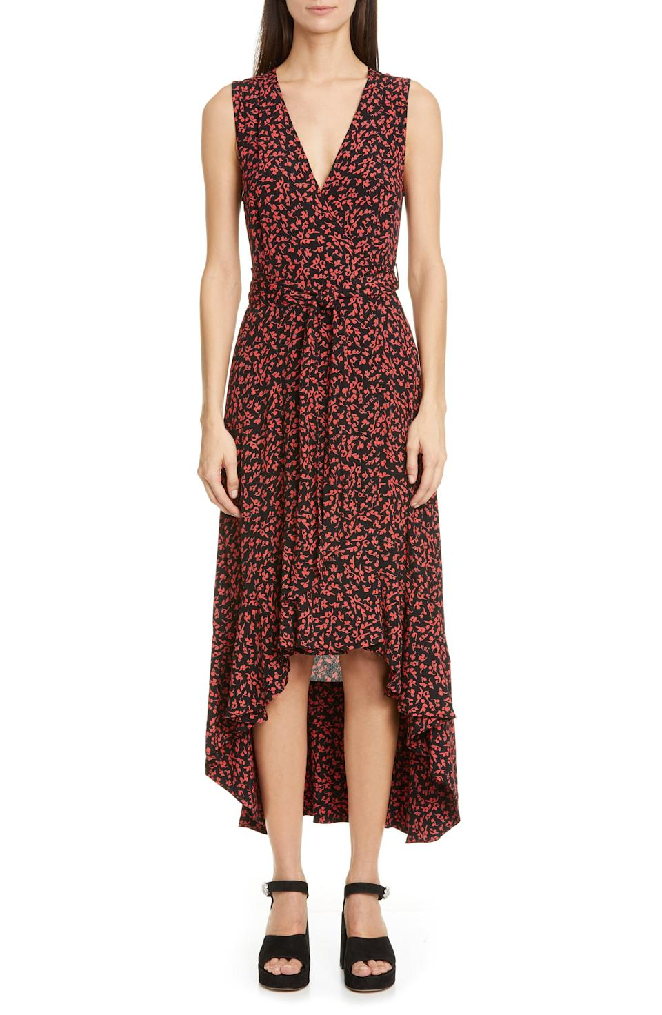"""<p><strong>GANNI</strong></p><p>nordstrom.com</p><p><strong>$206.50</strong></p><p><a href=""""https://go.redirectingat.com?id=74968X1596630&url=https%3A%2F%2Fwww.nordstrom.com%2Fs%2Fganni-floral-logo-print-high-low-wrap-dress%2F5590320&sref=https%3A%2F%2Fwww.redbookmag.com%2Flife%2Fg34807129%2Fnordstrom-black-friday-cyber-monday-deals-2020%2F"""" rel=""""nofollow noopener"""" target=""""_blank"""" data-ylk=""""slk:Shop Now"""" class=""""link rapid-noclick-resp"""">Shop Now</a></p><p><strong><del>$295</del> $206.50 (30 % off) </strong></p><p>You can totally layer a long-sleeve shirt under this cute dress, and then once spring and summer rolls around, you can wear it on its own. </p>"""