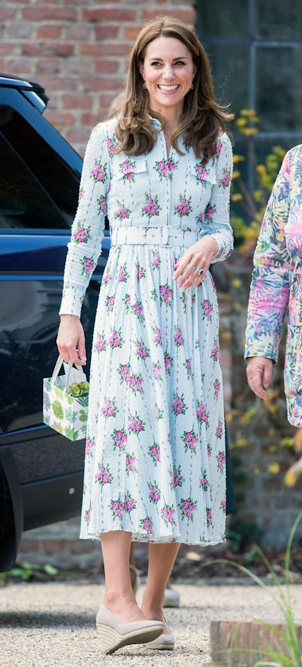 """<p>Kate wore Emilia Wickstead again in September for the RHS """"Back to Nature"""" festival—this time opting for a long-sleeved, floral look from the designer, which £1,635 ($2,255). She paired the posh dress with <a href=""""https://www.marieclaire.com/celebrity/a29046344/kate-middleton-fashion-style-6-dollar-earrings/"""" target=""""_blank"""">uber-affordable, $6 earrings</a>. </p>"""