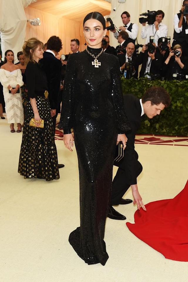 <p>Andreea Diaconu attends the Heavenly Bodies: Fashion & The Catholic Imagination Costume Institute Gala at The Metropolitan Museum of Art on May 7, 2018 in New York City. (Photo: Getty Images) </p>