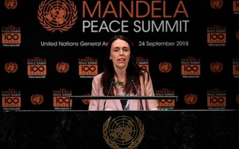 Jacinda Ardern addresses the Nelson Mandela Peace Summit - Credit: TIMOTHY A. CLARY/AFP