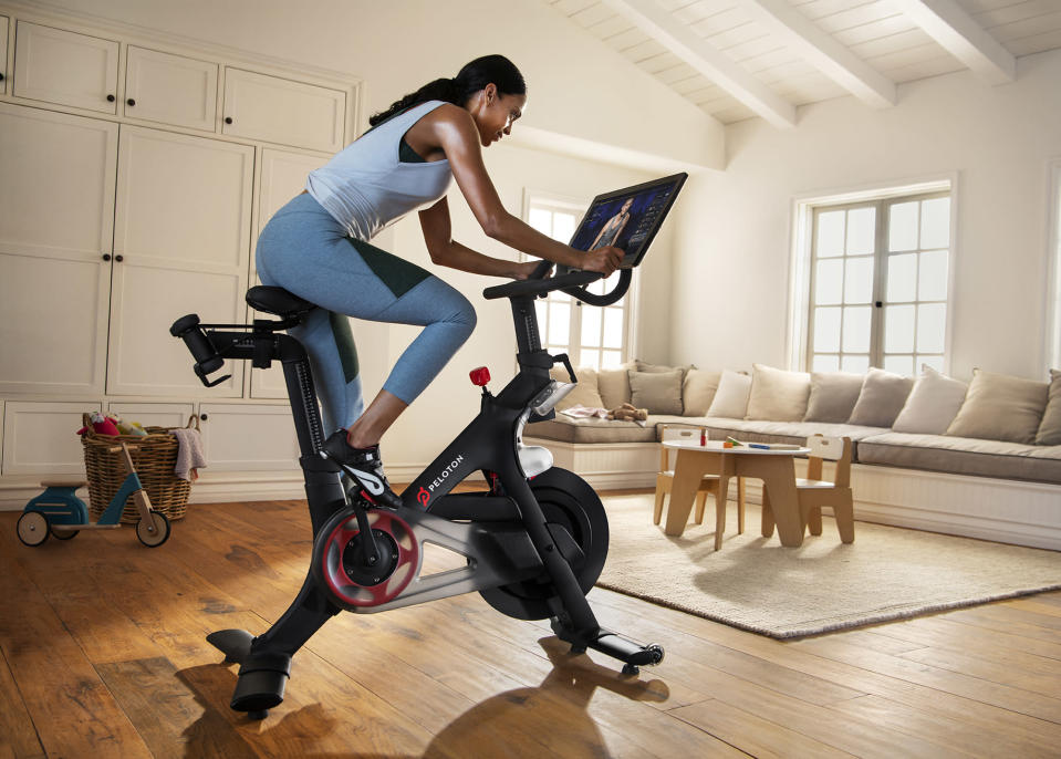 Peloton's flagship product, a tech-enabled stationary bike.