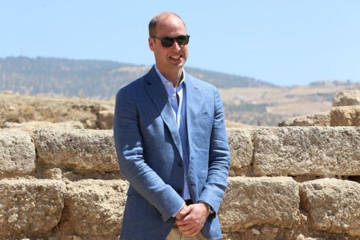 Visit: Prince William posed in the same spot as his wife did when she was a child (PA)