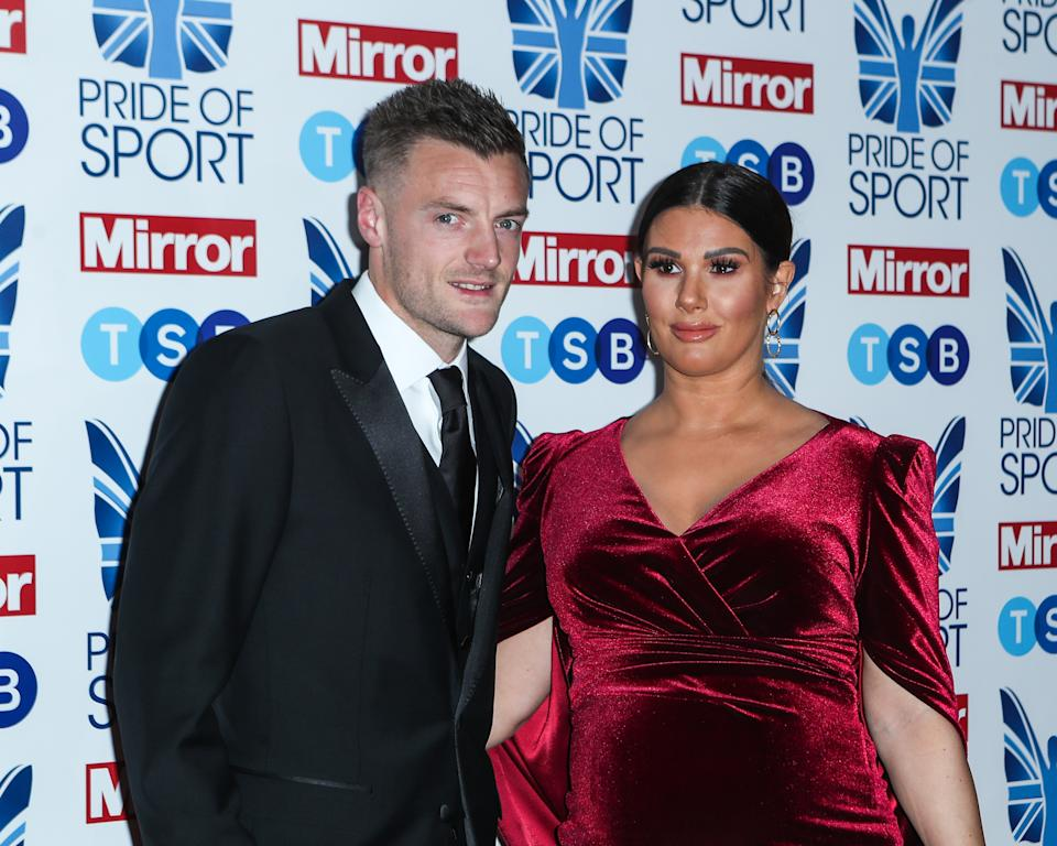 Jamie and Rebekah Vardy attend the Pride Of Sport Awards 2019 at Grosvenor House on December 05, 2019 in London, England. (Photo by John Rainford/Getty Images)