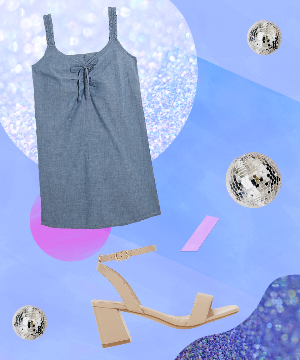 """<strong>The Brunch That Lasts All Day</strong><br><br>When choosing outfits that can take you from day to night, it's important to think about fabrics – especially throughout summer. A go-to fabric for maximum breathability is chambray, followed by poplin and linens, which all allow air to easily pass through, keeping you cool and providing a lovely subtle breeze. <br><br>We've got you covered with this cute, loose-fitting number featuring ruffle details on the string shoulder straps. A real dress up or down piece, it's perfect for that brunch date with the girls that inevitably lasts into the night – just add a pair of square-toe block sandals.<br><br><strong>Simply Be</strong> Moulins Square Toe Block Heel Sandals Extra Wide Fit, $, available at <a href=""""https://www.simplybe.co.uk/shop/moulins-square-toe-block-heel-sandals-extra-wide-fit/sb253/product/details/show.action"""" rel=""""nofollow noopener"""" target=""""_blank"""" data-ylk=""""slk:Simply Be"""" class=""""link rapid-noclick-resp"""">Simply Be</a><br><br><strong>Vero Moda</strong> Vero Moda Akela Chambray Dress, $, available at <a href=""""https://www.simplybe.co.uk/shop/vero-moda-akela-chambray-dress/hg721/product/details/show.action?pdBoUid=4014&optionColour=Denim&pdpClick=true"""" rel=""""nofollow noopener"""" target=""""_blank"""" data-ylk=""""slk:Simply Be"""" class=""""link rapid-noclick-resp"""">Simply Be</a>"""