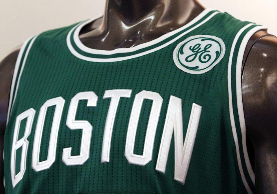 The Celtics unveiled the General Electric logo that will appear on their jerseys next season. (AP)