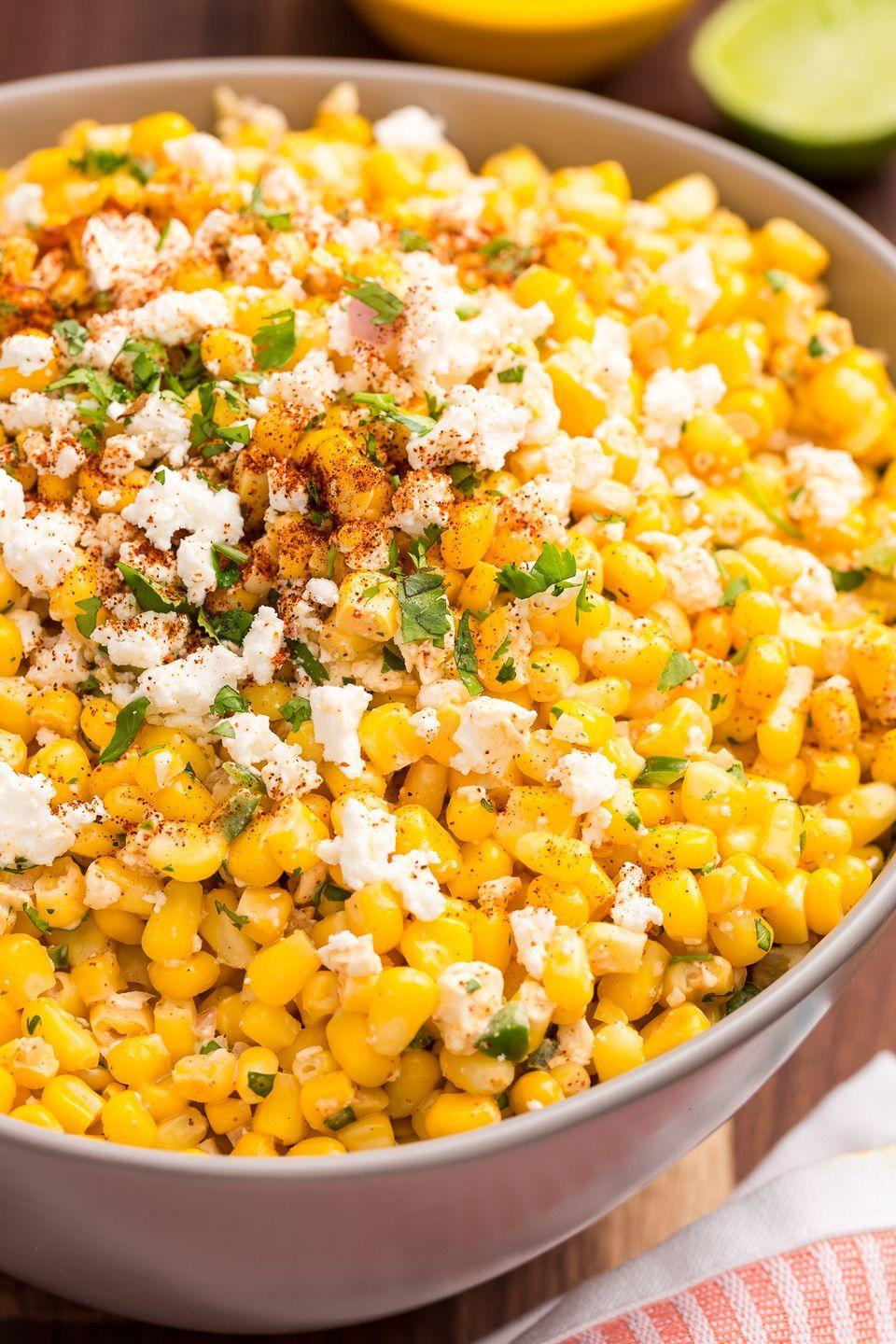 "<p>Mexican street-style corn meets corn salad in the best way.</p><p>Get the recipe from <a href=""https://www.delish.com/cooking/recipe-ideas/recipes/a43194/mexican-corn-salad-recipe/"" rel=""nofollow noopener"" target=""_blank"" data-ylk=""slk:Delish"" class=""link rapid-noclick-resp"">Delish</a>.</p>"
