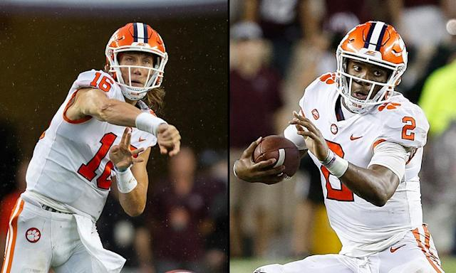 "Clemson has an ideal scenario with both <a class=""link rapid-noclick-resp"" href=""/ncaaf/players/287637/"" data-ylk=""slk:Trevor Lawrence"">Trevor Lawrence</a> (L) and <a class=""link rapid-noclick-resp"" href=""/ncaaf/players/252151/"" data-ylk=""slk:Kelly Bryant"">Kelly Bryant</a> excelling at quarterback. (AP/Getty)"