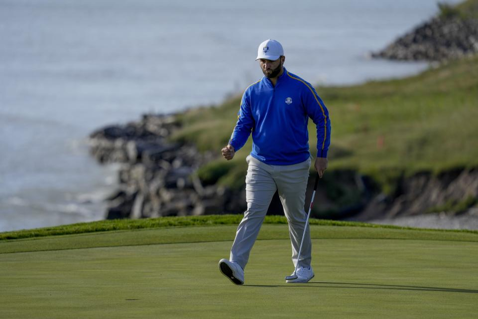 Team Europe's Jon Rahm reacts after making a putt to win the eighth hole during a foursome match the Ryder Cup at the Whistling Straits Golf Course Friday, Sept. 24, 2021, in Sheboygan, Wis. (AP Photo/Ashley Landis)