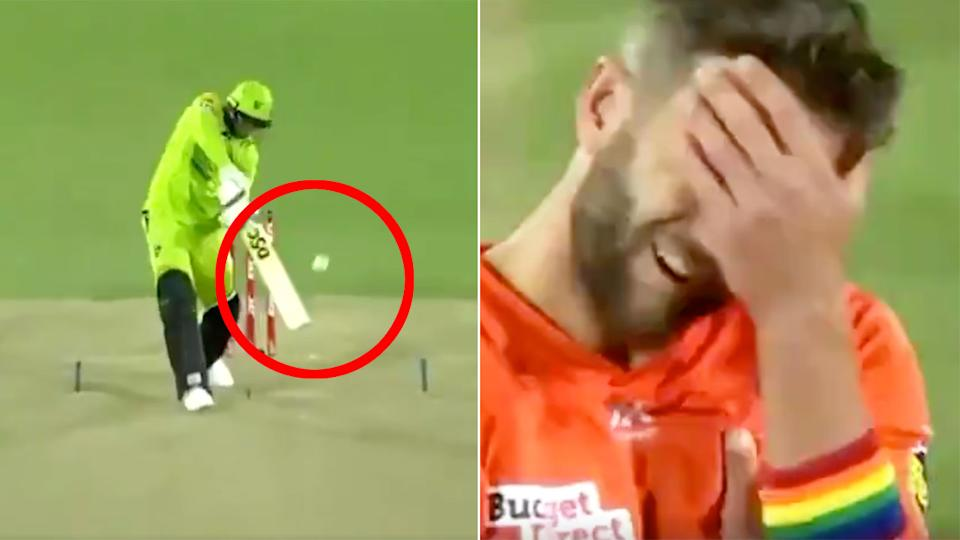 Pictured here, Andrew Tye is shocked by the not out call against Usman Khawaja.