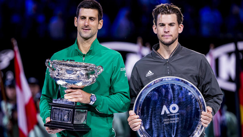 Novak Djokovic and Dominic Thiem, pictured here after the Australian Open final.