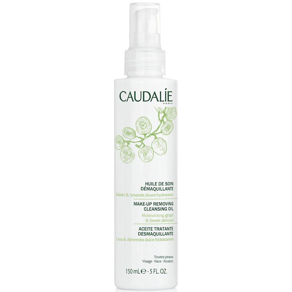 """<p>If you want to get fancy with a cleansing-oil ritual but don't want to spend a fortune on your cleanser, <a href=""""https://www.allure.com/gallery/best-cleansing-oil?mbid=synd_yahoo_rss"""" rel=""""nofollow noopener"""" target=""""_blank"""" data-ylk=""""slk:Caudalie's Makeup Removing Cleansing Oil"""" class=""""link rapid-noclick-resp"""">Caudalie's Makeup Removing Cleansing Oil</a> is your chance to do exactly that. The peptide and grape-seed oil mix dissolves waterproof makeup, grease, and everything in between with ease, leaving skin smooth and coddled. Sarkar likes it, saying, """"[It's] universally tolerated and gentle on your skin, but tough enough to remove all traces of eye makeup.""""</p> <p><strong>$28</strong> (<a href=""""https://www.amazon.com/Caudalie-Makeup-Removing-Cleansing-Oil/dp/B07CH8T1LQ"""" rel=""""nofollow noopener"""" target=""""_blank"""" data-ylk=""""slk:Shop Now"""" class=""""link rapid-noclick-resp"""">Shop Now</a>)</p>"""