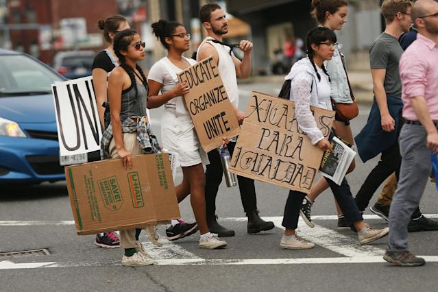 <p>Protesters prepare to march in Boston against a planned 'Free Speech Rally' just one week after the violent 'Unite the Right' rally in Virginia left one woman dead and dozens more injured on August 19, 2017 in Boston, Mass. (Photo: Spencer Platt/Getty Images) </p>