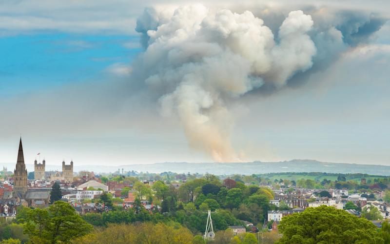 The fire could be seen from miles around - Twitter / @jolyonholroyd /Fire at Woodbury Common
