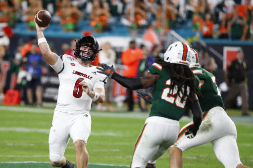 Louisville quarterback Evan Conley (6) throws a pass during the second half of the team's NCAA college football game against Miami, Saturday, Nov. 9, 2019, in Miami Gardens, Fla. Miami defeated Louisville 52-27. (AP Photo/Wilfredo Lee)