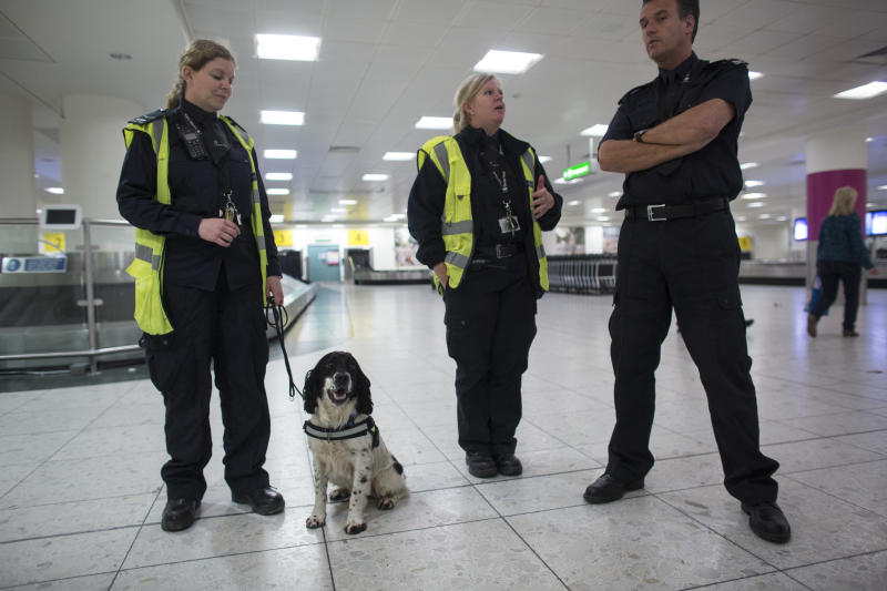 LONDON, ENGLAND - MAY 28: Border Force dog handler Claire Chapman (L) and her detector dog 'Pip' check passengers and luggage arriving at Gatwick Airport for illegal drugs on May 28, 2014 in London, England. Border Force detector dogs are able to sniff out a range of goods which may be being illegally imported into the UK such as: Class A drugs, tobacco, cash, animal products, firearms and smuggled people. Detector dogs began working at the UK border in 1978, when they were initially used to simply detect drugs. Currently Border Force has 74 highly-trained dogs based around the UK. Border Force is the law enforcement command within the Home Office responsible for the security of the UK border by enforcing immigration and customs controls on people and goods entering the UK. Border Force officers work at 140 sea and air ports across the UK and overseas. (Photo by Oli Scarff/Getty Images)