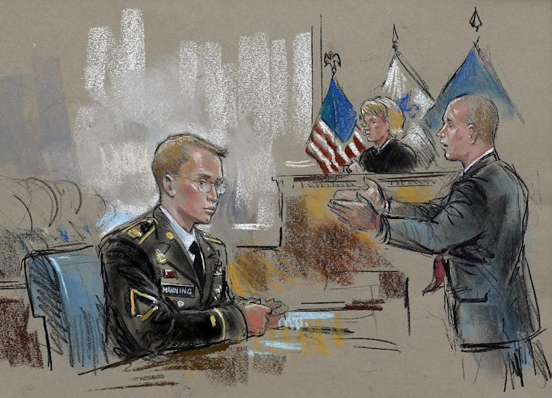 In this courtroom sketch, Army Pfc. Bradley Manning watches at left as his defense attorney, David Coombs, right, speaks in front of military judge Army Col. Denise Lind on the opening day of Manning's court martial in Fort Meade, Md., Monday, June 3, 2013. Manning, who was arrested three years ago, is charged with indirectly aiding the enemy by sending troves of classified material to WikiLeaks. He faces up to life in prison. (AP Photo/William Hennessy) WASHINGTON AREA LOCALS OUT / TV OUT, NO ARCHIVES, NO SALES