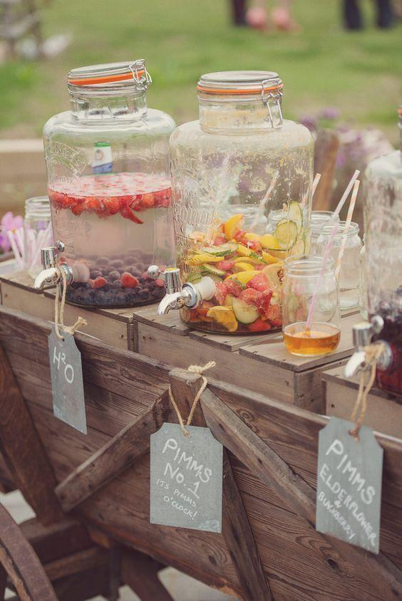"""<p>Forget about the Pimms jug. Fill up some kitsch glass dispensers with different infused Pimms and leave some mason jars for guests to fill up whenever they want. <i><a href=""""https://uk.pinterest.com/pin/354869645615627367/"""" rel=""""nofollow noopener"""" target=""""_blank"""" data-ylk=""""slk:[Photo: Pinterest]"""" class=""""link rapid-noclick-resp"""">[Photo: Pinterest]</a></i></p>"""