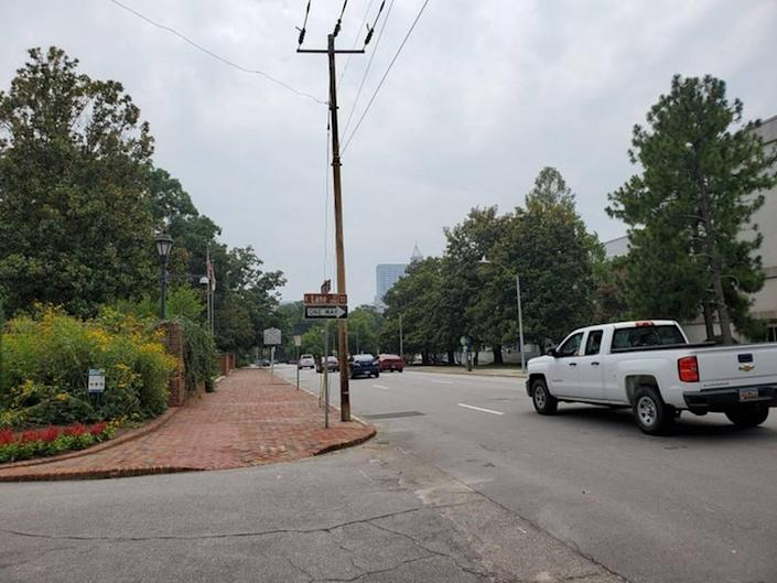 The North Carolina Executive Mansion had barriers in front of it on Blount Street and across the street for about a year. They are now gone, the last of the temporary fencing around downtown government buildings that had been in place since protests in the summer of 2020. Pictured July 20, 2021.