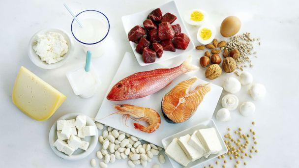 PHOTO: Protein-rich foods are displayed on a counter. (STOCK PHOTO/Getty Images)