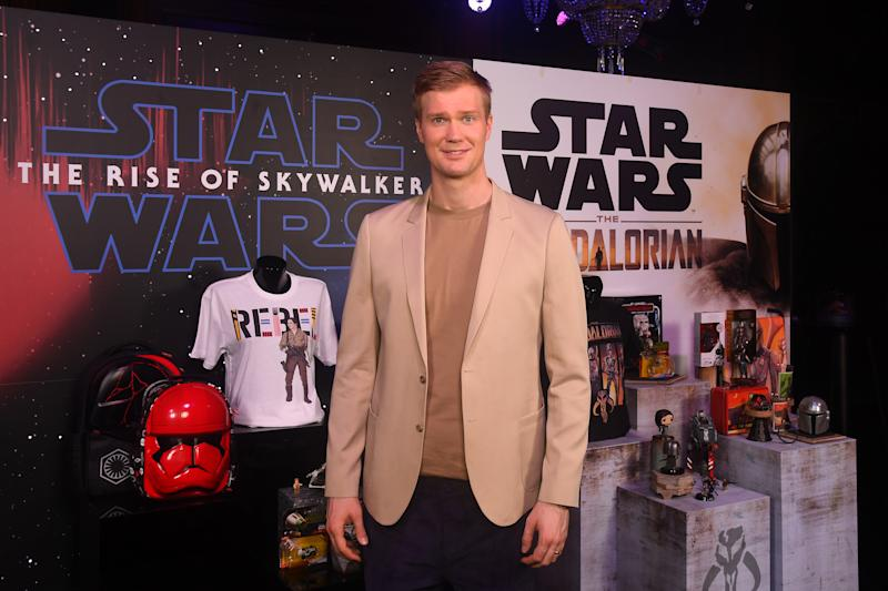 IVER HEATH, ENGLAND - SEPTEMBER 26: Joonas Suotamo who plays Chewbacca attends the global live-stream event at Pinewood Studios revealing new Star Wars merchandise, on September 26, 2019 in Iver Heath, England. The live-stream event takes place ahead of the global product launch on Triple Force Friday happening October 4, 2019. (Photo by Dave J Hogan/Dave Hogan/Getty Images for Disney)