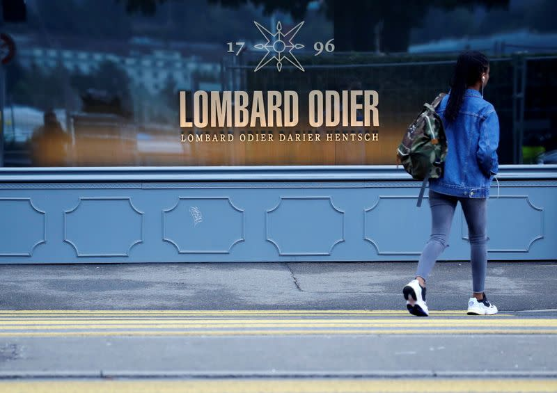 FILE PHOTO: Logo of private bank Lombard Odier is seen in Zurich