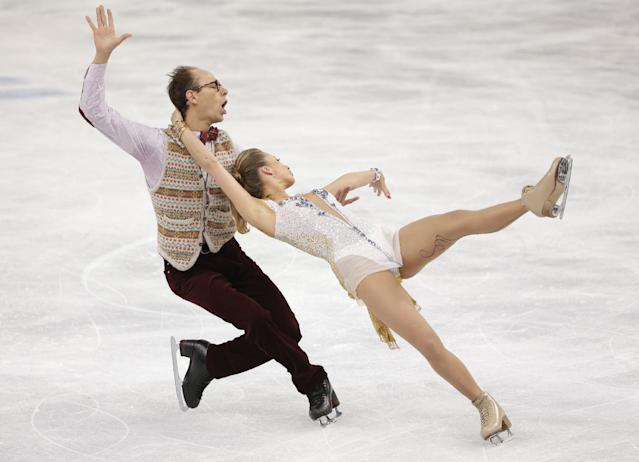 Nelli Zhiganshina and Alexander Gazsi of Germany compete in the ice dance short dance figure skating competition at the Iceberg Skating Palace during the 2014 Winter Olympics, Sunday, Feb. 16, 2014, in Sochi, Russia
